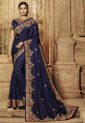Embroidered Art Silk Saree in Navy Blue