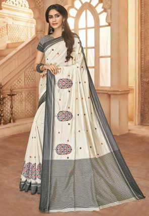 Embroidered Art Silk Saree in Off White