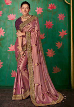 Embroidered Art Silk Saree in Old Rose