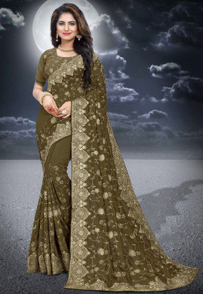 Embroidered Art Silk Saree in Olive Green