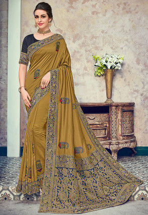 c5ff6638c Embroidered Art Silk Saree in Olive Green