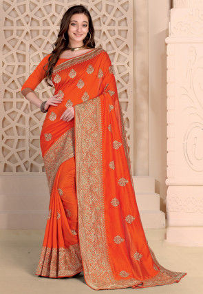 Embroidered Art Silk Saree in Orange