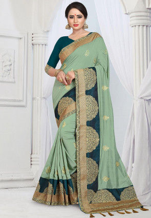 aa714e9f9c Embroidered Jute Silk Saree in Pastel Green : SHQA105