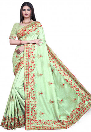Embroidered Art Silk Saree in Pastel Green
