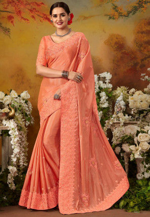 Embroidered Art Silk Saree in Pastel Orange