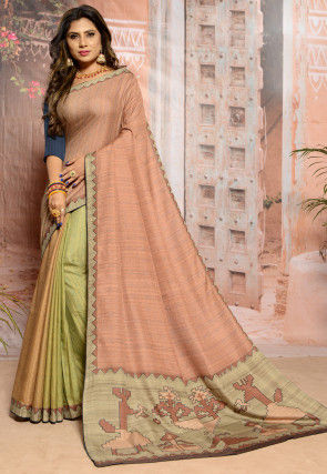 Embroidered Art Silk Saree in Peach and Light Green