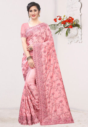 Embroidered Art Silk Saree in Peach