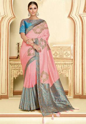 Embroidered Art Silk Saree in Pink