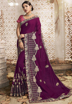 Embroidered Art Silk Saree in Purple