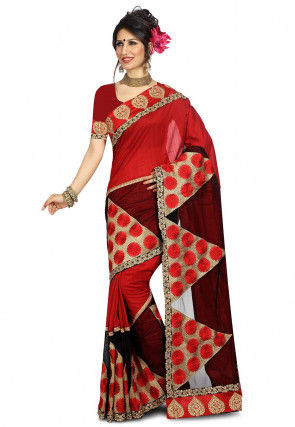 Embroidered Art Silk Saree in Red and Maroon