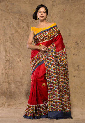 Embroidered Art Silk Saree in Red and Multicolor