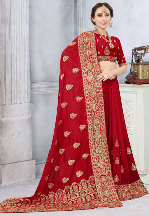 Embroidered Art Silk Saree in Red