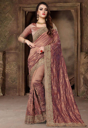 Embroidered Art Silk Saree in Light Brown