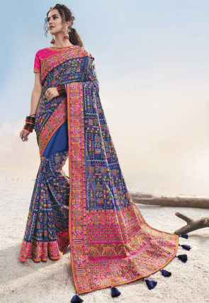 Embroidered Art Silk Saree in Royal Blue