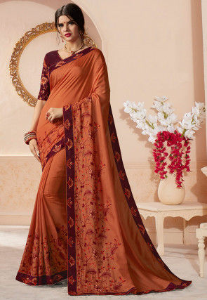 Embroidered Art Silk Saree in Rust