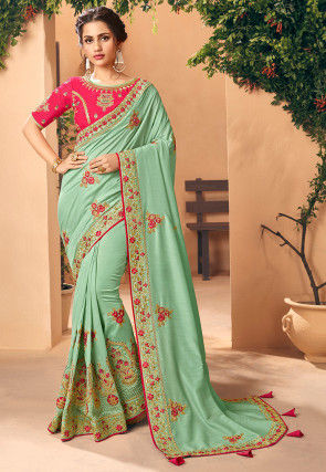 Embroidered Art Silk Saree in Sea Green
