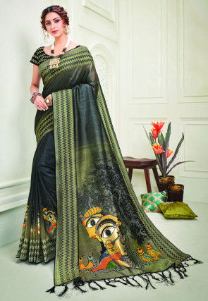 Embroidered Art Silk Saree in Shaded Black and Olive Green