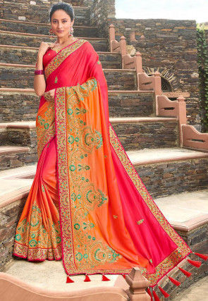 Embroidered Art Silk Saree in Shaded Coral Pink and Orange