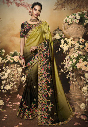 Embroidered Art Silk Saree in Shaded Olive Green and Dark Brown