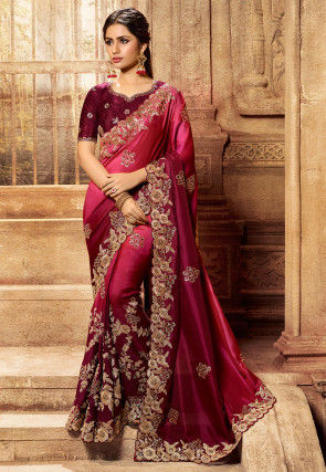 Embroidered Art Silk Saree in Shaded Pink and Maroon
