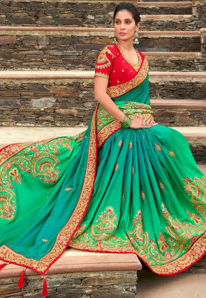 Embroidered Art Silk Saree in Shaded Teal Blue and Green