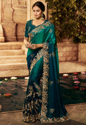 Embroidered Art Silk Saree in Shaded Teal Green and Teal Blue