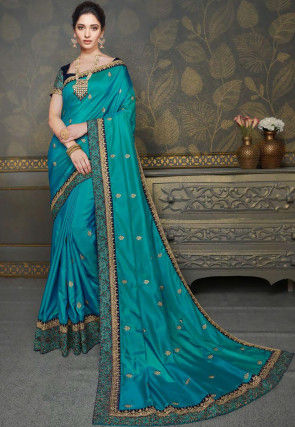 Embroidered Art Silk Saree in Sky Blue