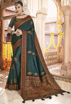 Embroidered Art Silk Saree in Teal Blue