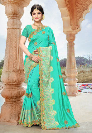 Embroidered Art Silk Saree in Teal Green