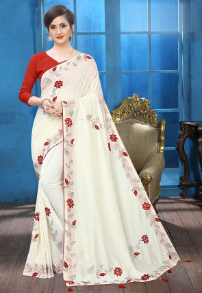 Embroidered Art Silk Saree in White