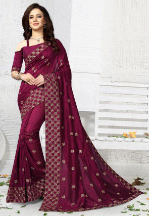 Embroidered Art Silk Saree in Wine