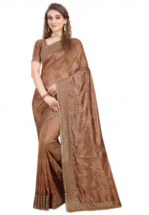 Embroidered Art Silk Scalloped Saree in Brown