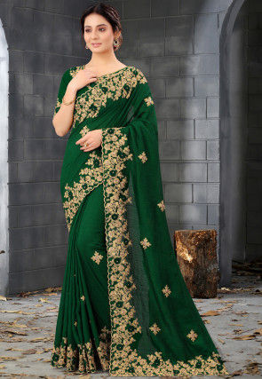Embroidered Art Silk Scalloped Saree in Green