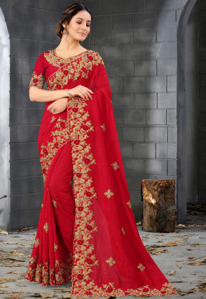 Embroidered Art Silk Scalloped Saree in Red