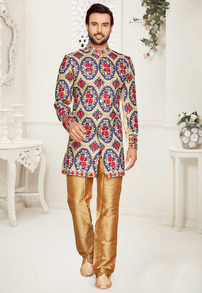 Embroidered Art Silk Sherwani in Beige and Blue