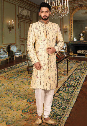 Embroidered Art Silk Sherwani in Beige