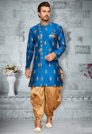 Embroidered Art Silk Sherwani in Blue