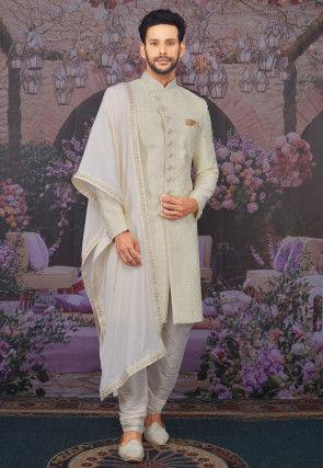 Embroidered Art Silk Sherwani in Cream