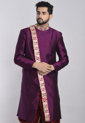 Embroidered Art Silk Sherwani in Dark Purple