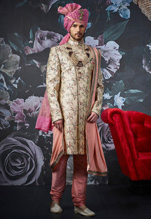Embroidered Art Silk Sherwani in Light Beige