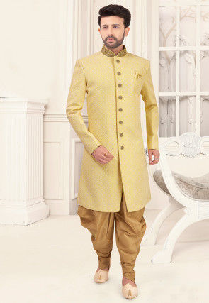Embroidered Art Silk Sherwani in Light Yellow