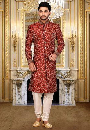 Embroidered Art Silk Sherwani in Maroon