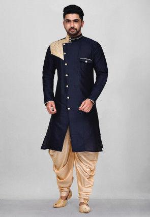 Embroidered Art Silk Sherwani in Navy Blue