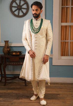 Embroidered Art Silk Sherwani in Off White