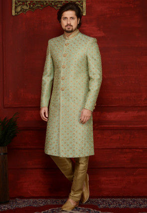 Embroidered Art Silk Sherwani in Pastel Green