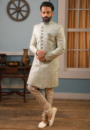 Embroidered Art Silk Sherwani in Sea Green