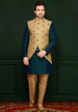 Embroidered Art Silk Sherwani in Teal Blue