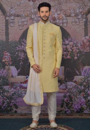 Embroidered Art Silk Sherwani in Yellow