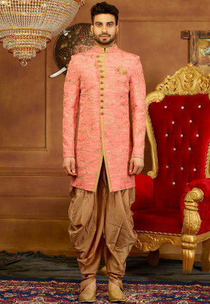 Embroidered Art Silk Sherwani Set in Light Pink