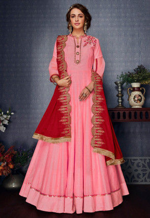 Embroidered Art Silk Slub Abaya Style Suit in Pink